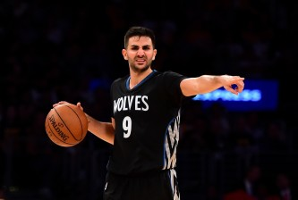 LOS ANGELES, CA - OCTOBER 28:  Ricky Rubio #9 of the Minnesota Timberwolves directs a play during the fourth quarter against the Los Angeles Lakers at Staples Center on October 28, 2015 in Los Angeles, California.  The Timberwolves won 112-111.   NOTE TO USER: User expressly acknowledges and agrees that, by downloading and or using this Photograph, user is consenting to the terms and condition of the Getty Images License Agreement.  (Photo by Harry How/Getty Images)