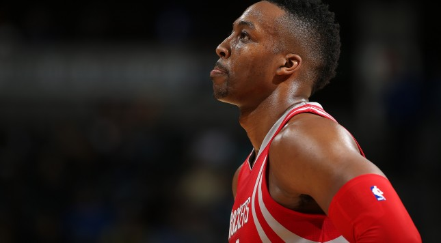 DENVER, CO - NOVEMBER 13:  Dwight Howard #12 of the Houston Rockets takes the court against the Denver Nuggets at Pepsi Center on November 13, 2015 in Denver, Colorado. The Nuggets defeated the Rockets 107-98. NOTE TO USER: User expressly acknowledges and agrees that, by downloading and or using this photograph, User is consenting to the terms and conditions of the Getty Images License Agreement.  (Photo by Doug Pensinger/Getty Images)