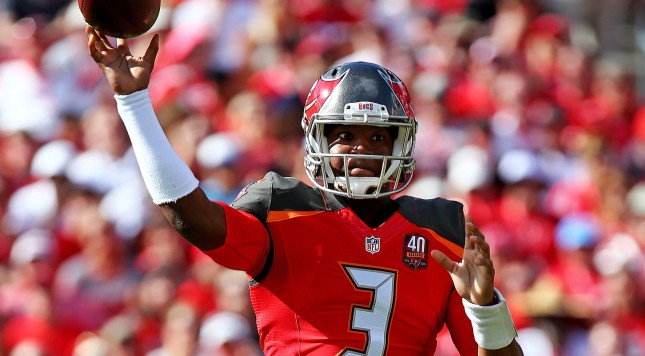 TAMPA, FL - DECEMBER 13: Jameis Winston #3 of the Tampa Bay Buccaneers throws during the first half of the game against the New Orleans Saints at Raymond James Stadium on December 13, 2015 in Tampa, Florida.  (Photo by Rob Foldy/Getty Images)