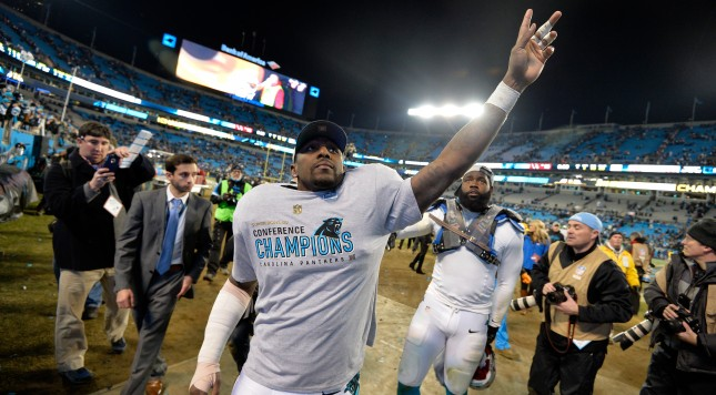 CHARLOTTE, NC - JANUARY 24:   Thomas Davis #58 of the Carolina Panthers celebrates after defeating the Arizona Cardinals in the NFC Championship Game at Bank of America Stadium on January 24, 2016 in Charlotte, North Carolina.  (Photo by Grant Halverson/Getty Images)