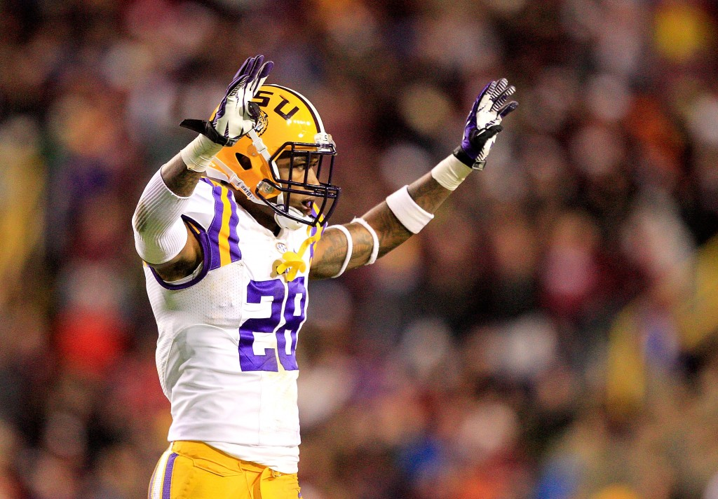 BATON ROUGE, LA - NOVEMBER 23:  Cornerback Jalen Mills #28 of the LSU Tigers celebrates while taking on the Texas A&M Aggies at Tiger Stadium on November 23, 2013 in Baton Rouge, Louisiana.  (Photo by Sean Gardner/Getty Images)