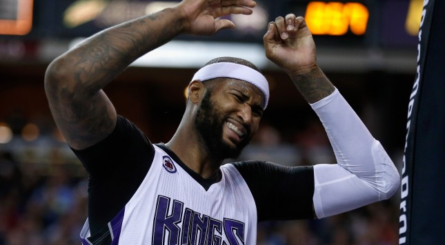 SACRAMENTO, CA - APRIL 03:  DeMarcus Cousins #15 of the Sacramento Kings reacts after being called for a foul during their game against the New Orleans Pelicans at Sleep Train Arena on April 3, 2015 in Sacramento, California.  NOTE TO USER: User expressly acknowledges and agrees that, by downloading and or using this photograph, User is consenting to the terms and conditions of the Getty Images License Agreement.  (Photo by Ezra Shaw/Getty Images)