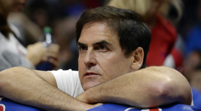 LOS ANGELES CA - OCTOBER 29: Mark Cuban, owner of the Dallas Mavericks, follows the action from behind the bench during the third quarter of the basketball game against Los Angeles Clippers at Staples Center October 29, 2015, in Los Angeles California. NOTE TO USER: User expressly acknowledges and agrees that, by downloading and or using this photograph, User is consenting to the terms and conditions of the Getty Images License Agreement. (Photo by Kevork Djansezian/Getty Images)