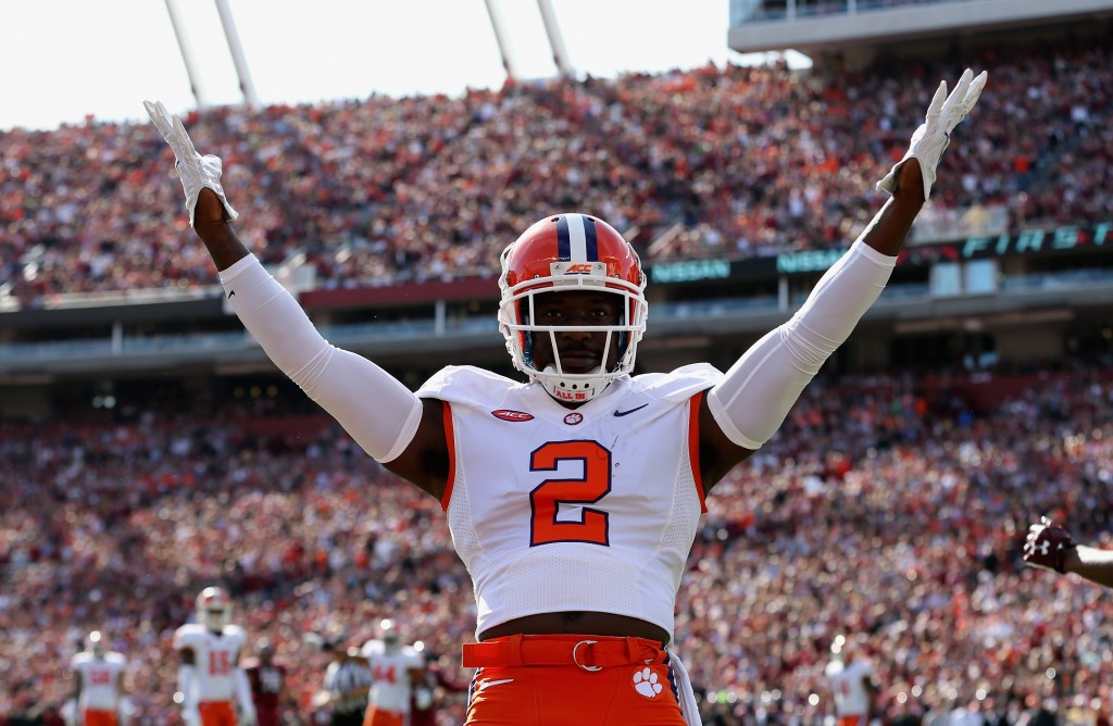 COLUMBIA, SC - NOVEMBER 28:  Mackensie Alexander #2 of the Clemson Tigers reacts after breaking up a pass against the South Carolina Gamecocks during their game at Williams-Brice Stadium on November 28, 2015 in Columbia, South Carolina.  (Photo by Streeter Lecka/Getty Images)