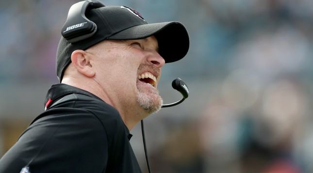JACKSONVILLE, FL - DECEMBER 20:  Head coach Dan Quinn of the Atlanta Falcons looks to the scoreboard during the game against the Jacksonville Jaguars at EverBank Field on December 20, 2015 in Jacksonville, Florida.  (Photo by Sam Greenwood/Getty Images)