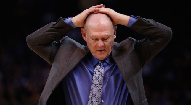 OAKLAND, CA - DECEMBER 28:  Head coach George Karl of the Sacramento Kings reacts during their game against the Golden State Warriors at ORACLE Arena on December 28, 2015 in Oakland, California. NOTE TO USER: User expressly acknowledges and agrees that, by downloading and or using this photograph, User is consenting to the terms and conditions of the Getty Images License Agreement.  (Photo by Ezra Shaw/Getty Images)