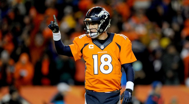 DENVER, CO - JANUARY 17:  Peyton Manning #18 of the Denver Broncos signals to the sideline during the AFC Divisional Playoff Game against the Pittsburgh Steelers  at Sports Authority Field at Mile High on January 17, 2016 in Denver, Colorado.  (Photo by Dustin Bradford/Getty Images)