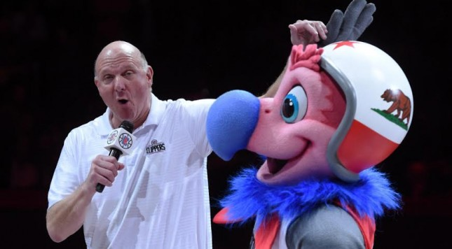Feb 29, 2016; Los Angeles, CA, USA; Los Angeles Clippers owner Steve Ballmer (left) introduces mascot Chuck during an NBA game against the Brooklyn Nets at the Staples Center. Mandatory Credit: Kirby Lee-USA TODAY Sports ORG XMIT: USATSI-233074 ORIG FILE ID:  20160229_gma_al2_210.jpg