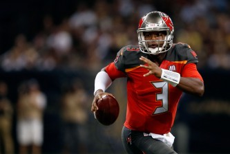 NEW ORLEANS, LA - SEPTEMBER 20:  Jameis Winston #3 of the Tampa Bay Buccaneers scrambles for yards during the second quarter of a game against the New Orleans Saints at the Mercedes-Benz Superdome on September 20, 2015 in New Orleans, Louisiana.  (Photo by Wesley Hitt/Getty Images)
