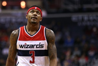 WASHINGTON, DC - MARCH 25: Bradley Beal #3 of the Washington Wizards looks on against the Minnesota Timberwolves during the first half at Verizon Center on March 25, 2016 in Washington, DC. NOTE TO USER: User expressly acknowledges and agrees that, by downloading and or using this photograph, User is consenting to the terms and conditions of the Getty Images License Agreement. (Photo by Patrick Smith/Getty Images)
