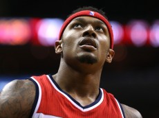 WASHINGTON, DC - MARCH 25: Bradley Beal #3 of the Washington Wizards looks on in the second half against the Minnesota Timberwolves at Verizon Center on March 25, 2016 in Washington, DC. The Minnesota Timberwolves won, 132-129, in double overtime. NOTE TO USER: User expressly acknowledges and agrees that, by downloading and or using this photograph, User is consenting to the terms and conditions of the Getty Images License Agreement. (Photo by Patrick Smith/Getty Images)