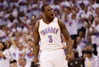 OKLAHOMA CITY, OK - MAY 24:  Dion Waiters #3 of the Oklahoma City Thunder reacts in the first quater against the Golden State Warriors in game four of the Western Conference Finals during the 2016 NBA Playoffs at Chesapeake Energy Arena on May 24, 2016 in Oklahoma City, Oklahoma. NOTE TO USER: User expressly acknowledges and agrees that, by downloading and or using this photograph, User is consenting to the terms and conditions of the Getty Images License Agreement.  (Photo by Ronald Martinez/Getty Images)