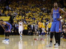 OAKLAND, CA - MAY 26:  Kevin Durant #35 of the Oklahoma City Thunder stands on the court during Game Five of the Western Conference Finals against the Golden State Warriors during the 2016 NBA Playoffs at ORACLE Arena on May 26, 2016 in Oakland, California.  (Photo by Ezra Shaw/Getty Images)