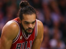 BOSTON, MA - DECEMBER 09:  Joakim Noah #13 of the Chicago Bulls looks on during the second half against the Boston Celtics at TD Garden on December 9, 2015 in Boston, Massachusetts. The Celtics defeat the Bulls 105-100.  (Photo by Maddie Meyer/Getty Images)