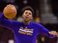 CLEVELAND, OH - FEBRUARY 10: Nick Young #0 of the Los Angeles Lakers warms up prior to the game against the Cleveland Cavaliers at Quicken Loans Arena on February 10, 2016 in Cleveland, Ohio. NOTE TO USER: User expressly acknowledges and agrees that, by downloading and/or using this photograph, user is consenting to the terms and conditions of the Getty Images License Agreement.  (Photo by Jason Miller/Getty Images)