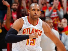 ATLANTA, GA - MAY 06:  Al Horford #15 of the Atlanta Hawks reacts after hitting a three-point basket against the Cleveland Cavaliers in Game Three of the Eastern Conference Semifinals during the 2016 NBA Playoffs at Philips Arena on May 6, 2016 in Atlanta, Georgia.  NOTE TO USER User expressly acknowledges and agrees that, by downloading and or using this photograph, user is consenting to the terms and conditions of the Getty Images License Agreement.  (Photo by Kevin C. Cox/Getty Images)