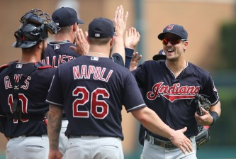 DETROIT, MI - JUNE 26: Tyler Naquin #30 of the Cleveland Indians celebrates a win over the Detroit Tigers with his teammates during the game on June 26, 2016 at Comerica Park in Detroit, Michigan. The Indians defeated the Tigers 9-3. (Photo by Leon Halip/Getty Images)