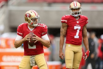 SANTA CLARA, CA - NOVEMBER 08:  Colin Kaepernick #7 watches Blaine Gabbert #2 of the San Francisco 49ers warm up before their game against the Atlanta Falcons at Levi's Stadium on November 8, 2015 in Santa Clara, California.  (Photo by Ezra Shaw/Getty Images)