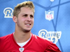 OXNARD, CA - MAY 06:  Jared Goff #16 of the Los Angeles Rams speaks to the media after a Los Angeles Rams rookie camp on May 06, 2016 in Oxnard, California.  (Photo by Harry How/Getty Images)