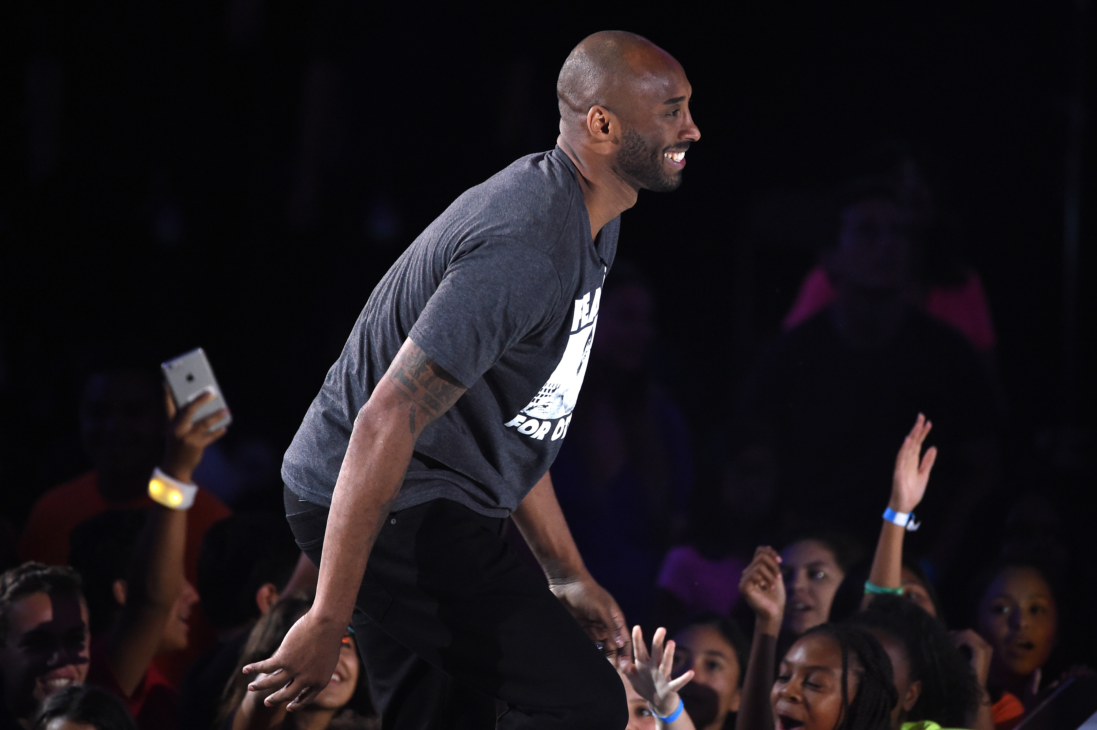 WESTWOOD, CA - JULY 14:  Honoree Kobe Bryant greets fans during the Nickelodeon Kids' Choice Sports Awards 2016 at UCLA's Pauley Pavilion on July 14, 2016 in Westwood, California. The Nickelodeon Kids' Choice Sports Awards 2016 show airs on July 17, 2016 at 8pm on Nickelodeon.  (Photo by Kevin Winter/Getty Images)