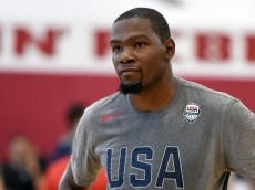 LAS VEGAS, NV - JULY 18:  Kevin Durant #5 of the 2016 USA Basketball Men's National Team stands on the court during a practice session at the Mendenhall Center on July 18, 2016 in Las Vegas, Nevada.  (Photo by Ethan Miller/Getty Images)