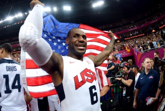 LONDON, ENGLAND - AUGUST 12:  LeBron James #6 of the United States celebrates winning the Men's Basketball gold medal game between the United States and Spain on Day 16 of the London 2012 Olympics Games at North Greenwich Arena on August 12, 2012 in London, England.  (Photo by Harry How/Getty Images)