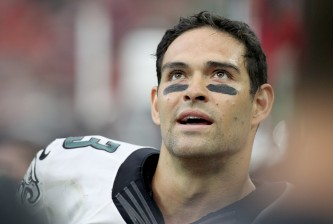 HOUSTON, TX- NOVEMBER 02: Mark Sanchez #3 of the Philadelphia Eagles smiles after throwing a touchdown pass against the Houston Texans in the second half in a NFL game on November 2, 2014 at NRG Stadium in Houston, Texas. Eagles won 31 to 21. (Photo by Thomas B. Shea/Getty Images)