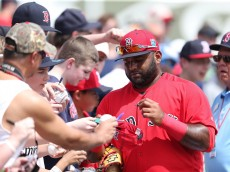 FORT MYERS, FL  - MARCH 14: Pablo Sandoval #48 of the Boston Red Sox signs fans autographs prior to the start of Spring Training Game against the Pittsburgh Pirates on March 14, 2016 at Jet Blue Park at Fenway South, Fort Myers, Florida. The Pirates defeated the Red Sox 3-1. (Photo by Leon Halip/Getty Images)