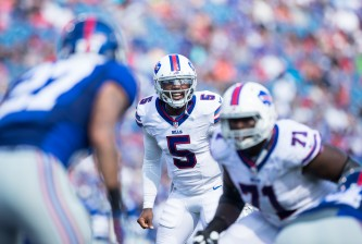 ORCHARD PARK, NY - AUGUST 20:  Tyrod Taylor #5 of the Buffalo Bills yells to teammates before the snap during the first half against the New York Giants on August 20, 2016 at New Era Field in Orchard Park, New York.  (Photo by Brett Carlsen/Getty Images)