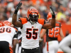 CLEVELAND, OH - DECEMBER 6: Vontaze Burfict #55 of the Cincinnati Bengals reacts to a second quarter defensive stop while playing the Cleveland Browns at FirstEnergy Stadium on December 6, 2015 in Cleveland, Ohio. (Photo by Gregory Shamus/Getty Images)