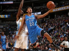 DENVER, CO - JANUARY 19:  Cameron Payne #22 of the Oklahoma City Thunder puts up a shot only to have it blocked by Will Barton #5 of the Denver Nuggets at Pepsi Center on January 19, 2016 in Denver, Colorado. NOTE TO USER: User expressly acknowledges and agrees that, by downloading and or using this photograph, User is consenting to the terms and conditions of the Getty Images License Agreement.  (Photo by Doug Pensinger/Getty Images)