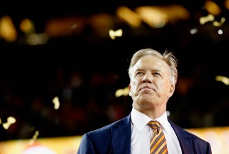 SANTA CLARA, CA - FEBRUARY 07:  General Manager John Elway of the Denver Broncos looks on after their win over the Carolina Panthers during Super Bowl 50 at Levi's Stadium on February 7, 2016 in Santa Clara, California.  (Photo by Ezra Shaw/Getty Images)