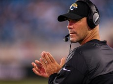 JACKSONVILLE, FL - AUGUST 28: Head coach Gus Bradley of the Jacksonville Jaguars claps during the second half of the preseason game against the Cincinnati Bengals at EverBank Field on August 28, 2016 in Jacksonville, Florida. (Photo by Rob Foldy/Getty Images)