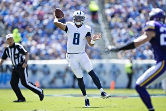 NASHVILLE, TN - SEPTEMBER 11:  Marcus Mariota #8 of the Tennessee Titans throws a pass during the first half of a game against the Minnesota Vikings at Nissan Stadium on September 11, 2016 in Nashville, Tennessee.  (Photo by Wesley Hitt/Getty Images)