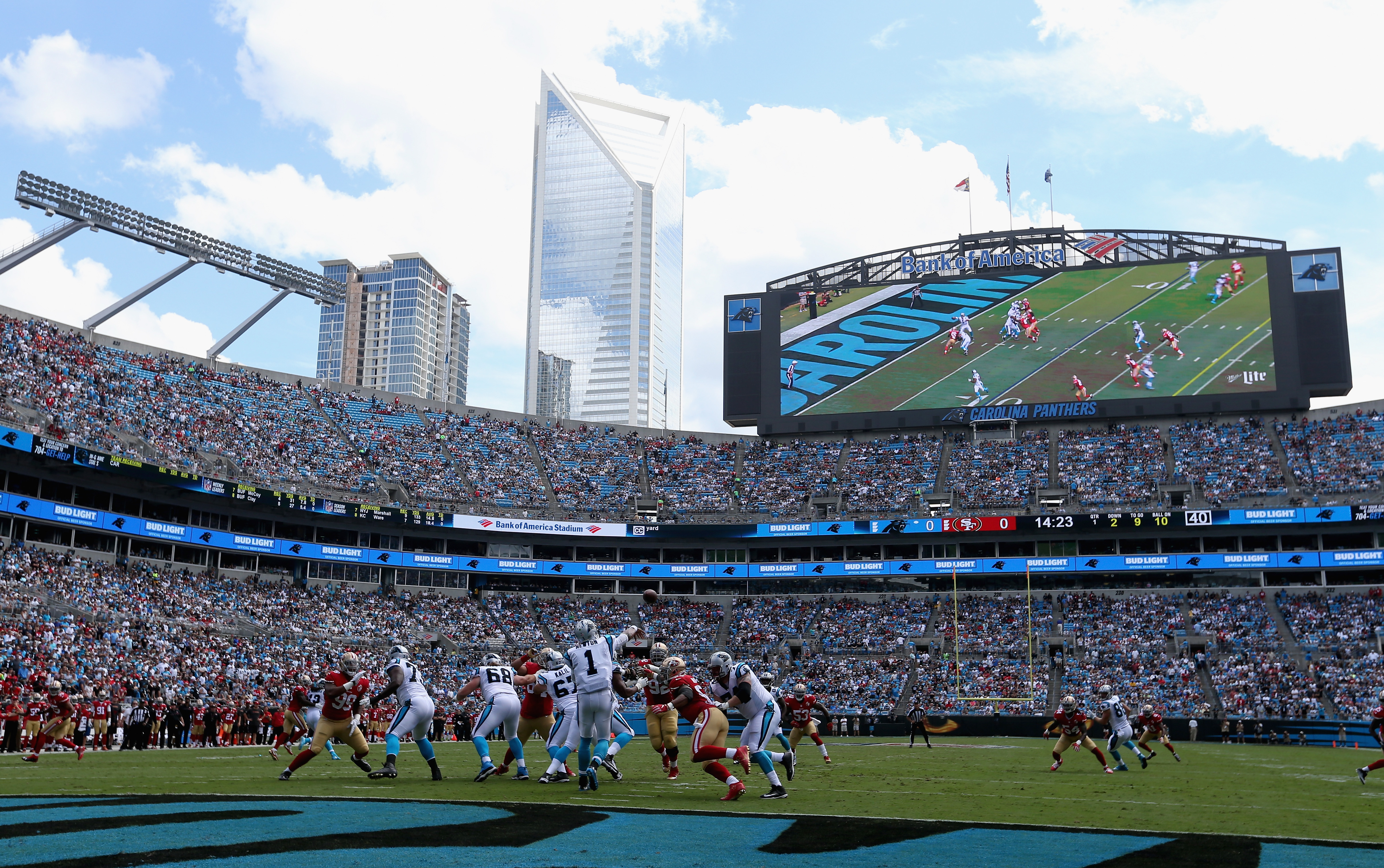 CHARLOTTE, NC - SEPTEMBER 18:   Cam Newton #1 of the Carolina Panthers throws an interception on their first possession against the San Francisco 49ers during their game at Bank of America Stadium on September 18, 2016 in Charlotte, North Carolina.  (Photo by Streeter Lecka/Getty Images)