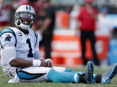 CHARLOTTE, NC - SEPTEMBER 18:   Cam Newton #1 of the Carolina Panthers reacts after a play against the San Francisco 49ers during their game at Bank of America Stadium on September 18, 2016 in Charlotte, North Carolina.  (Photo by Streeter Lecka/Getty Images)