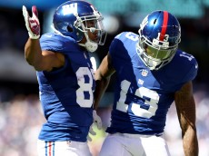 EAST RUTHERFORD, NJ - SEPTEMBER 25:   Sterling Shepard #87 of the New York Giants celebrates his touchdown with teammate Odell Beckham #13 in the first quarter against the Washington Redskins at MetLife Stadium on September 25, 2016 in East Rutherford, New Jersey.  (Photo by Elsa/Getty Images)