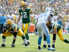 GREEN BAY, WI - SEPTEMBER 25:  Aaron Rodgers #12 of the Green Bay Packers calls out a play in the first quarter against the Detroit Lions at Lambeau Field on September 25, 2016 in Green Bay, Wisconsin. (Photo by Dylan Buell/Getty Images)