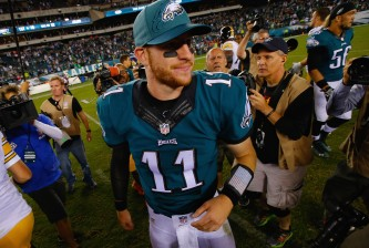 PHILADELPHIA, PA - SEPTEMBER 25:  Quarterback  Carson Wentz #11 of the Philadelphia Eagles smiles after their 34-3 win over the Pittsburgh Steelers at Lincoln Financial Field on September 25, 2016 in Philadelphia, Pennsylvania.  (Photo by Rich Schultz/Getty Images)