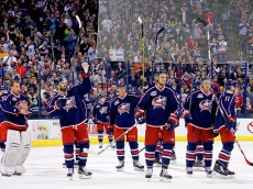 COLUMBUS, OH - APRIL 10:  Members of the Columbus Blue Jackets acknowledge the fans after defeating the Buffalo Sabres 3-2 in the final home game of the season on April 10, 2015 at Nationwide Arena in Columbus, Ohio. (Photo by Kirk Irwin/Getty Images)