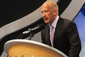 LOS ANGELES, CA - JUNE 25: Jarmo Kekalainen of the St. Louis Blues works the draft floor during the 2010 NHL Entry Draft at Staples Center on June 25, 2010 in Los Angeles, California. (Photo by Bruce Bennett/Getty Images)