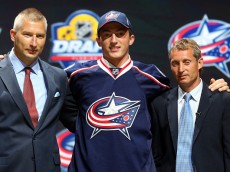 SUNRISE, FL - JUNE 26:  Zach Werenski poses after being selected eighth overall by the Columbus Blue Jackets in the first round of the 2015 NHL Draft at BB&T Center on June 26, 2015 in Sunrise, Florida.  (Photo by Bruce Bennett/Getty Images)