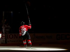 CHICAGO, IL - JUNE 10:  Brandon Saad #20 of the Chicago Blackhawks celebrates after defeating the Tampa Bay Lightning 2 to 1 in Game Four of the 2015 NHL Stanley Cup Final at the United Center on June 10, 2015 in Chicago, Illinois.  (Photo by Bruce Bennett/Getty Images)