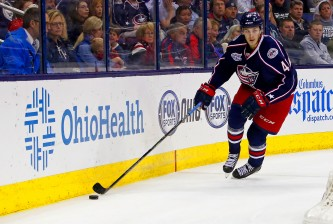 COLUMBUS, OH - APRIL 8:  Alexander Wennberg #41 of the Columbus Blue Jackets controls the puck during the game against the Toronto Maple Leafs at Nationwide Arena on April 8, 2015 in Columbus, Ohio. (Photo by Kirk Irwin/Getty Images)