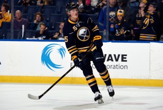 BUFFALO, NY - OCTOBER 8: Jack Eichel #15 of the Buffalo Sabres skates during warmups before the game against the Ottawa Senators at the First Niagara Center on October 8, 2015 in Buffalo, New York. (Tom Brenner/ Getty Images)