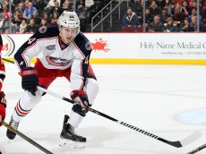 NEWARK, NJ - MARCH 06:  Justin Falk #44 of the Columbus Blue Jackets skates during the second period against the New Jersey Devils at the Prudential Center on March 6, 2015 in Newark, New Jersey. (Photo by Christopher Pasatieri/Getty Images)