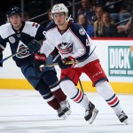 DENVER, CO - OCTOBER 24:  Alexander Wennberg #41 of the Columbus Blue Jackets skates against Matt Duchene #9 of the Colorado Avalanche at Pepsi Center on October 24, 2015 in Denver, Colorado. The Blue Jackets defeated the Avalanche 4-3.  (Photo by Doug Pensinger/Getty Images)