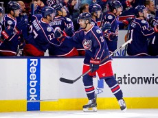 COLUMBUS, OH - NOVEMBER 14:  Brandon Saad #20 of the Columbus Blue Jackets is congratulated by his teammates after scoring a goal during the third period of the game against the Arizona Coyotes on November 14, 2015 at Nationwide Arena in Columbus, Ohio. Columbus defeated Arizona 5-2. (Photo by Kirk Irwin/Getty Images)