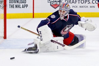 COLUMBUS, OH - NOVEMBER 14: Sergei Bobrovsky #72 of the Columbus Blue Jackets makes a save during the game against the Arizona Coyotes on November 14, 2015 at Nationwide Arena in Columbus, Ohio. (Photo by Kirk Irwin/Getty Images)