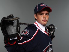 ST PAUL, MN - JUNE 25:  66th overall pick T.J.Tynan by the Columbus Blue Jackets poses for a portrait during day two of the 2011 NHL Entry Draft at Xcel Energy Center on June 25, 2011 in St Paul, Minnesota. (Photo by Nick Laham/Getty Images)